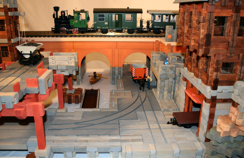 Scene on a large-scale railway built of wooden blocks