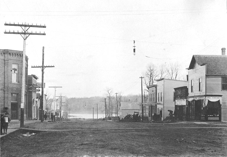 1906 view of downtown Frederic, Wisconsin
