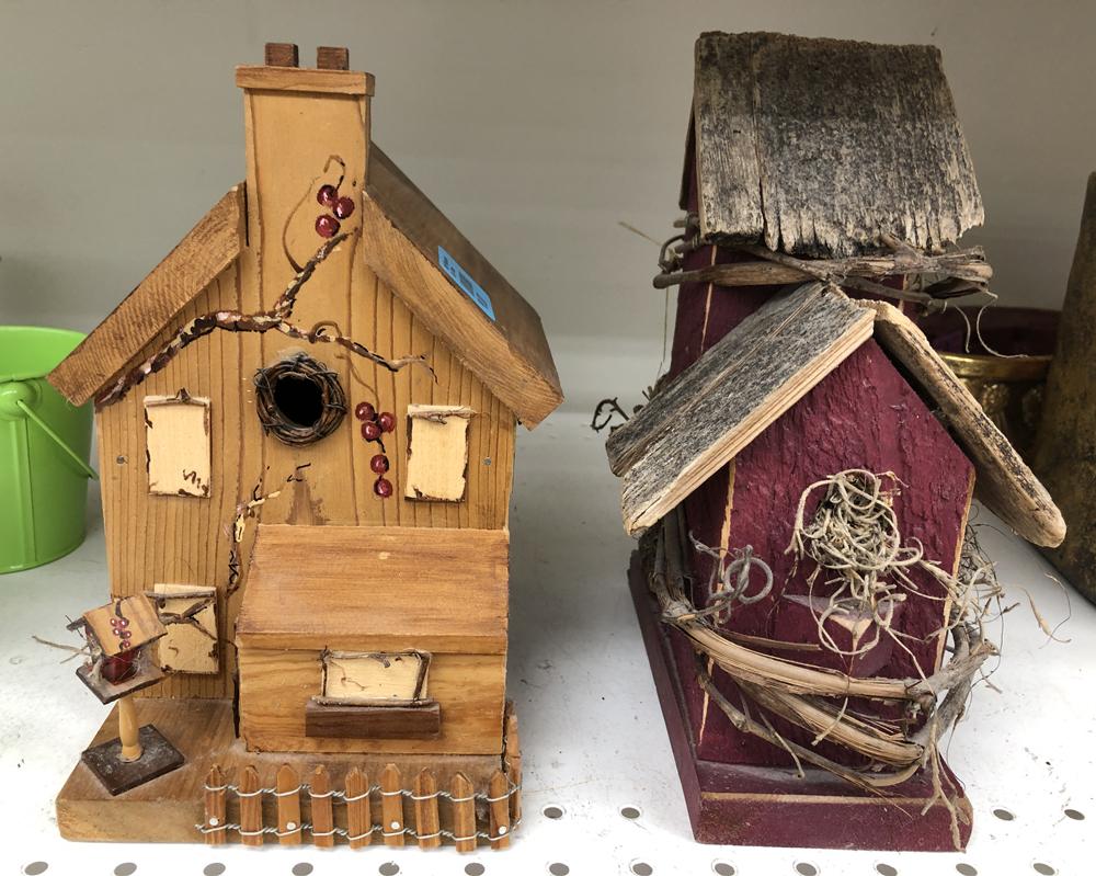 Two wood birdhouses