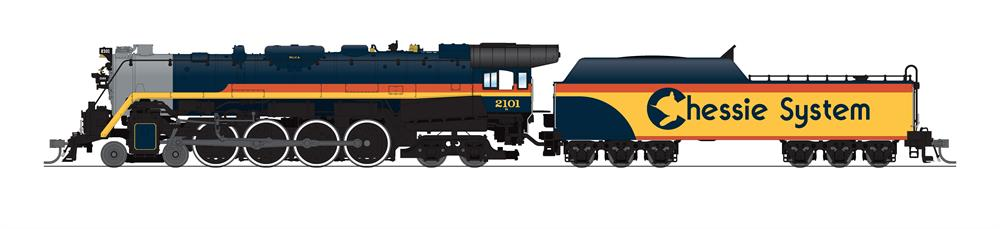 Broadway Limited Imports HO scale Chessie System Reading Co. T-1 4-8-4 steam locomotive no. 2101.