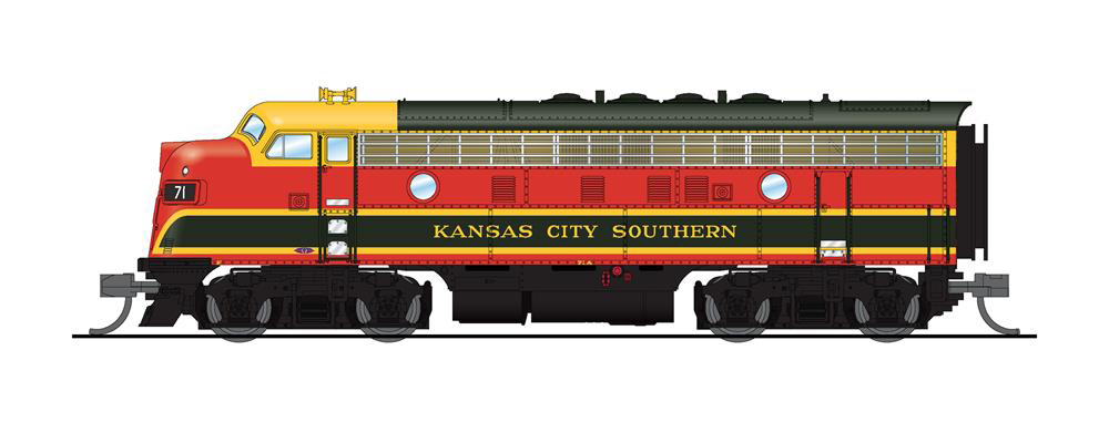 Broadway Limited Imports N scale Kansas City Southern Electro-Motive Division F7 diesel locomotive no. 71.