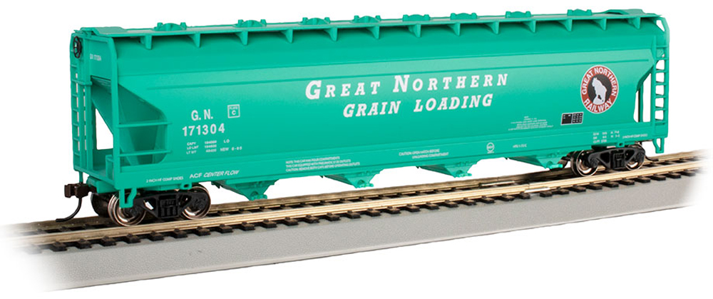 Bachmann Trains Great Northern American Car & Foundry 56-foot four-bay Center Flow covered hopper.