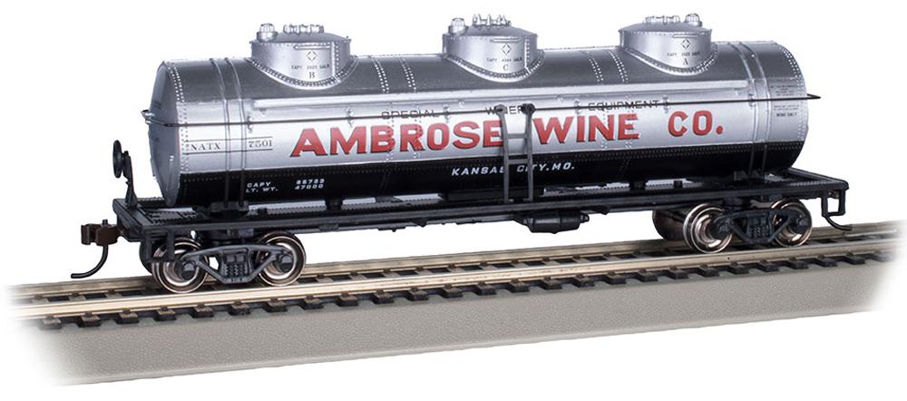 Bachmann HO scale Ambrose Wine Co. three-dome tank car no. 7501.