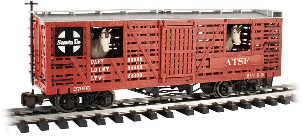Bachmann large scale Atchison, Topeka & Santa Fe animated stockcar no. 27905.