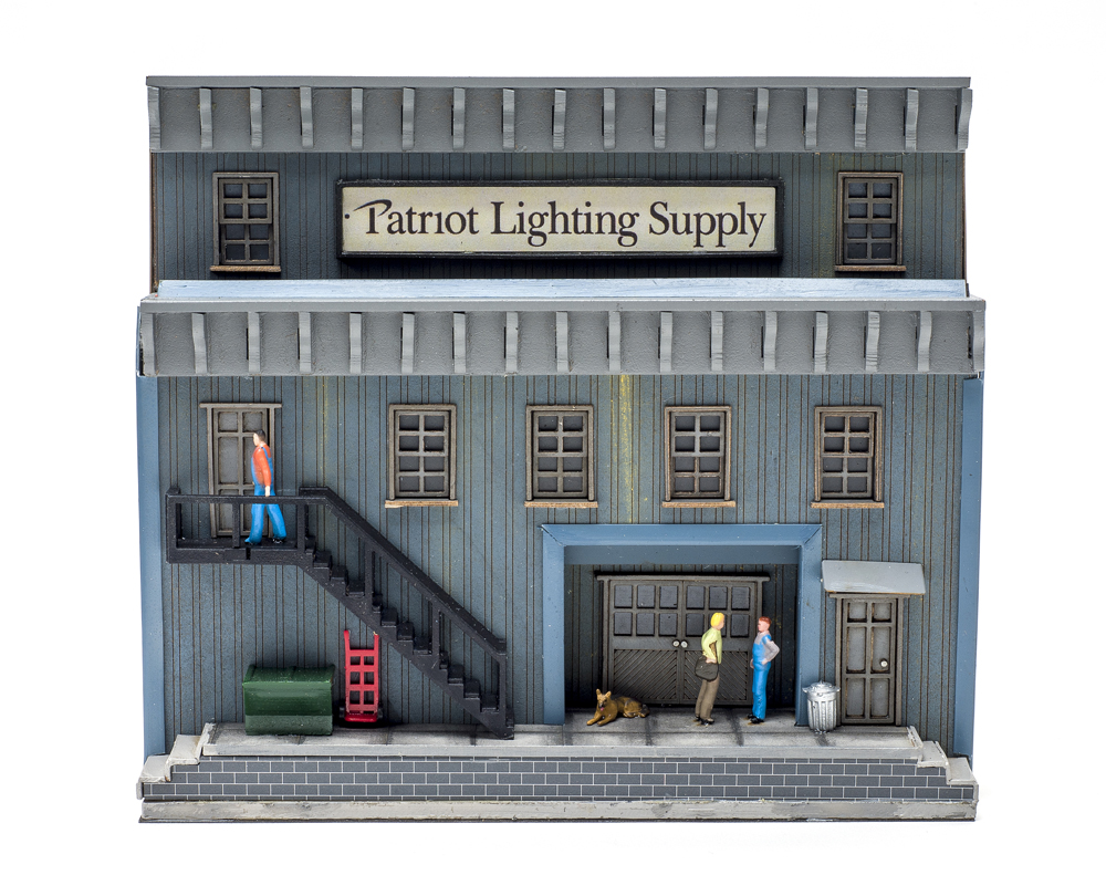 Menards HO scale Patriot Lighting Supply low-relief structure.