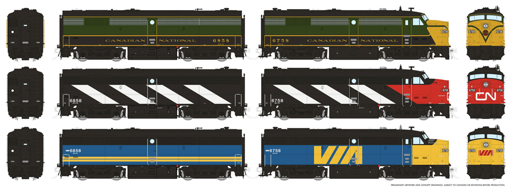 Montreal Locomotive Works FPA-2 and FPB-2 in three paint schemes
