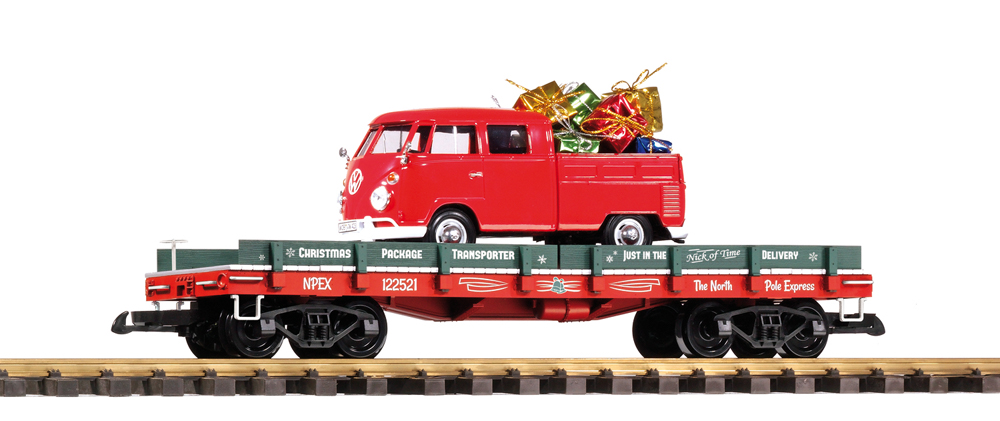 PIKO America Christmas Package Transporter flatcar with VW Kombi load.