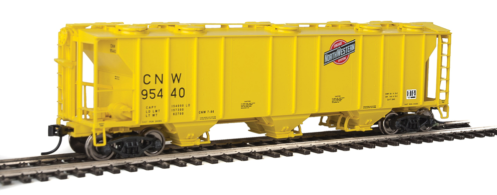 WalthersMainline HO scale Chicago & North Western Pullman-Standard 2,893-cubic-foot-capacity three-bay covered hopper no. 95440.