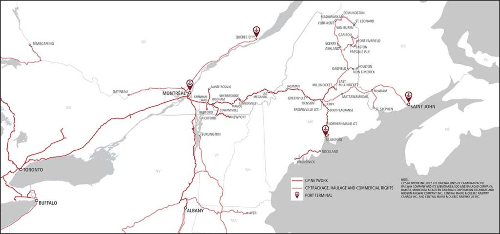 Railroad map of northern New England and eastern Canada
