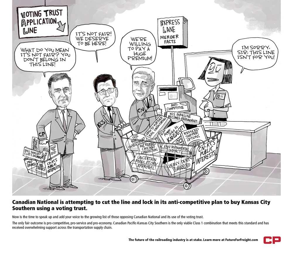 Political cartoon opposing CN+KCS merger