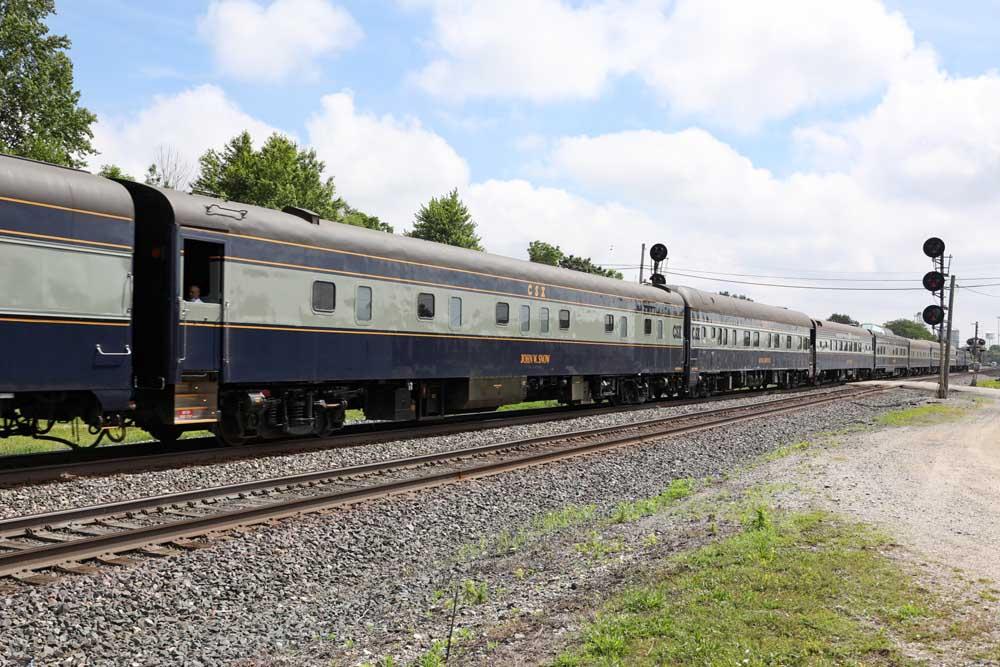 Passenger train between two signals