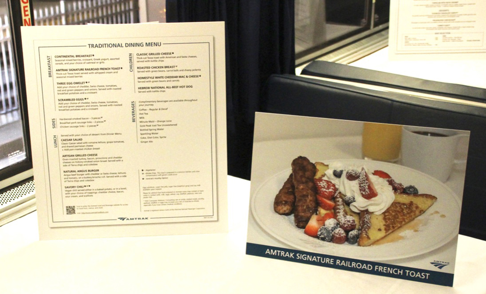 Enlargement of menu with photo of french toast breakfast