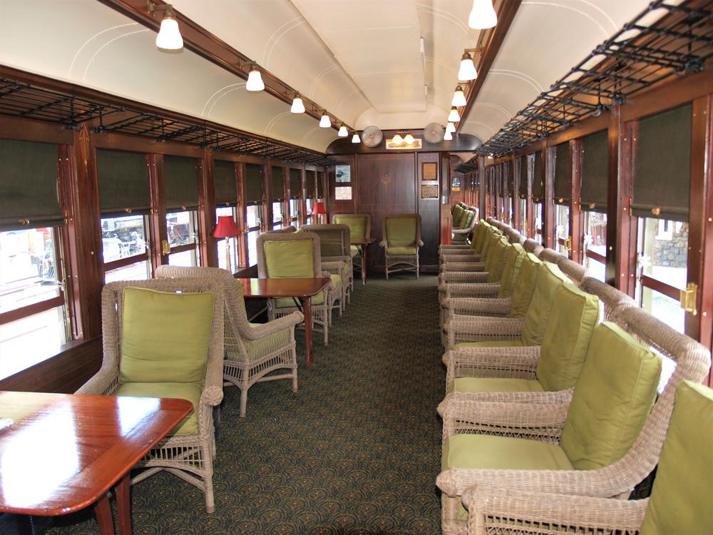 Ornate interior of passenger car
