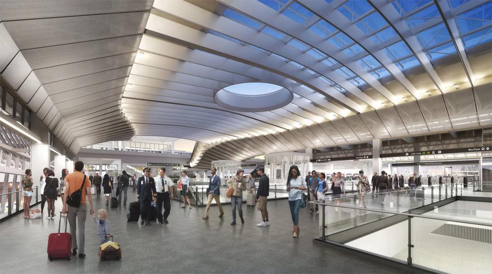 Interior rendering of the transit station
