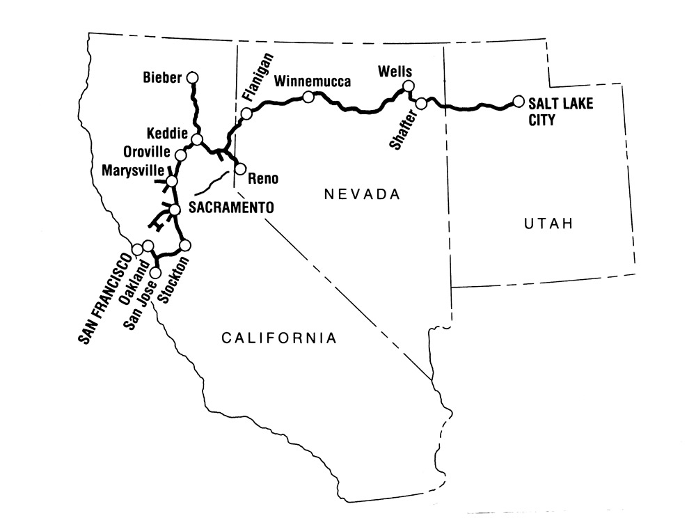Map of Western Pacific Railroad extending from Salt Lake City to San Francisco.