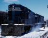 Two road-switcher diesel locomotives