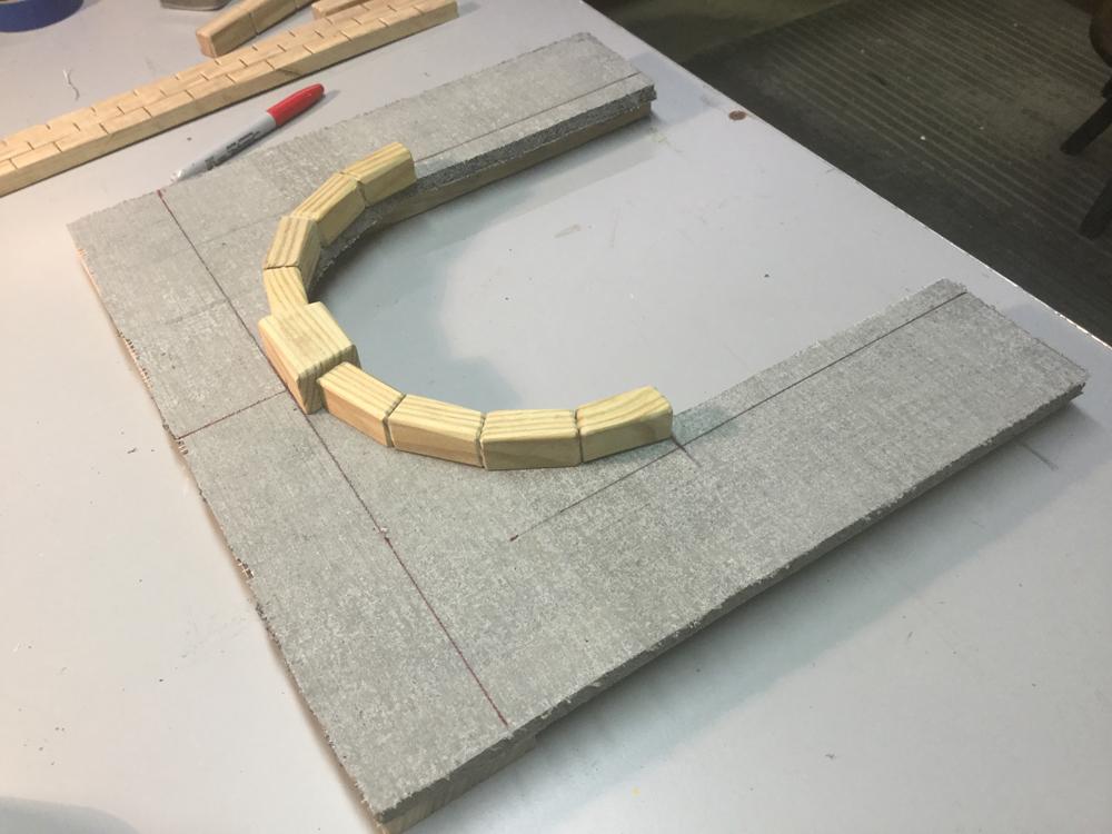 Blocks glued to frame of tunnel portal