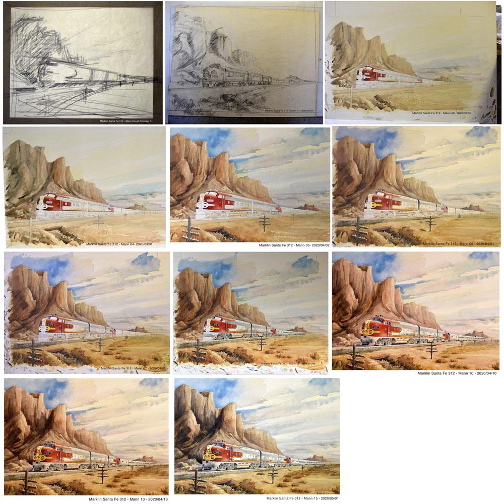 Watercolor painting of Santa Fe's Super Chief train