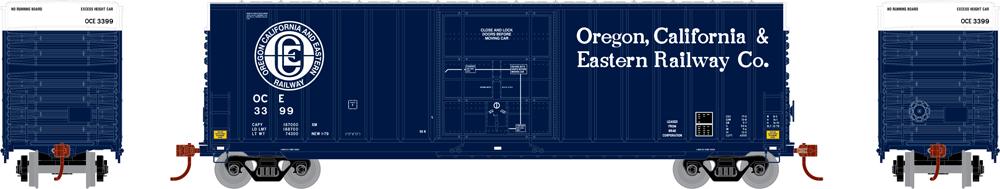 Oregon, California & Eastern 50-foot high-cube plug-door boxcar with exterior posts.