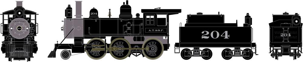 Athearn Ready-to-Roll Santa Fe 2-6-0 Mogul steam locomotive.