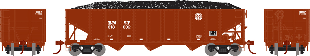Athearn Trains BNSF three-bay hopper with exterior posts and removable coal load.