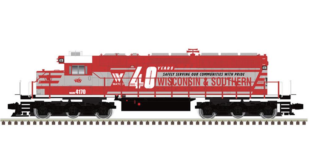 Atlas Wisconsin & Southern Electro-Motive Division SD40-2 diesel locomotive.