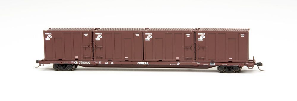 Conrail 85-foot trash flatcar with municipal solid waste containers.