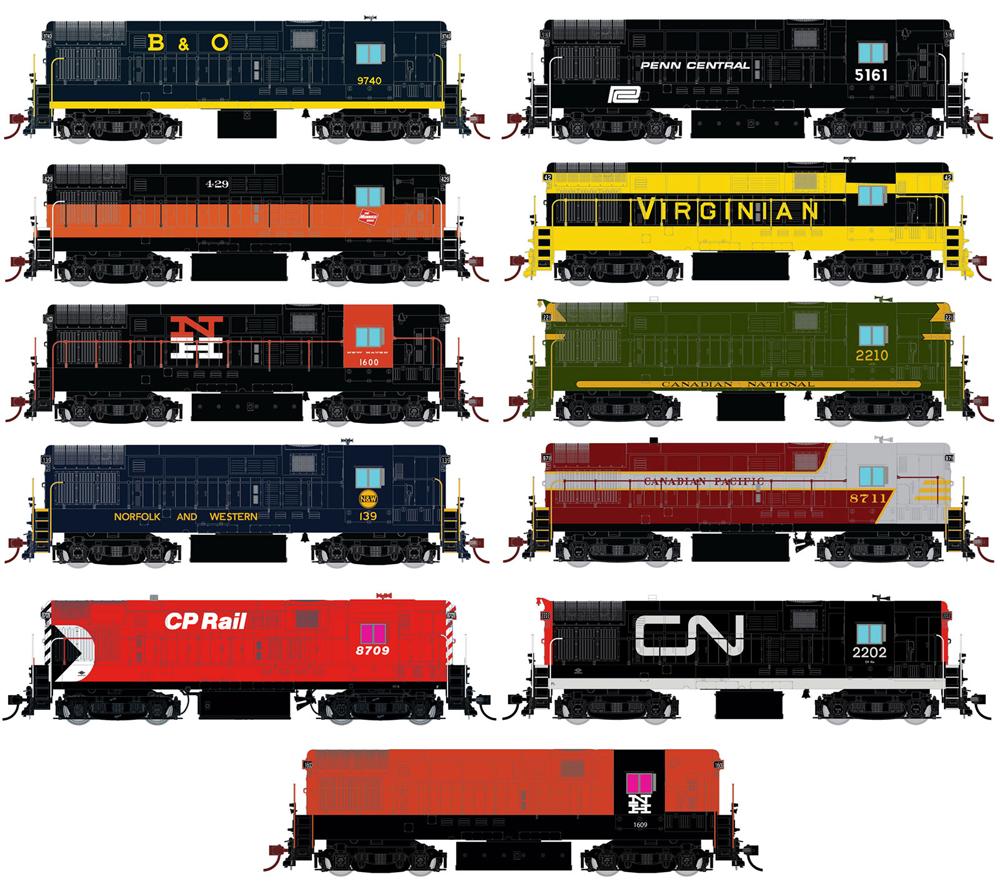 Artwork of Fairbanks-Morse H16-144 diesel locomotive in several paint schemes.