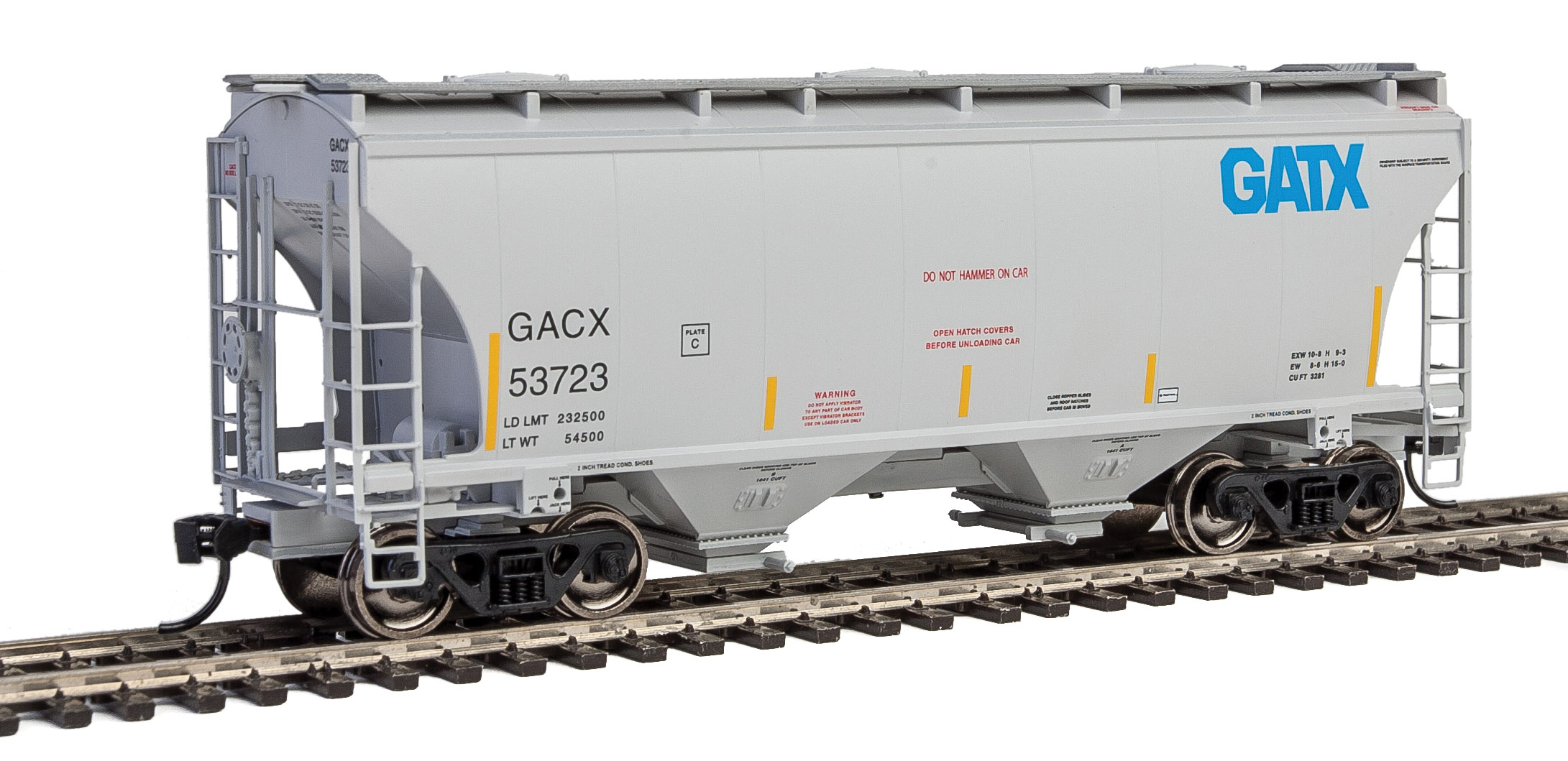 GATX Corporation 39-foot 3,281 two-bay covered hopper.