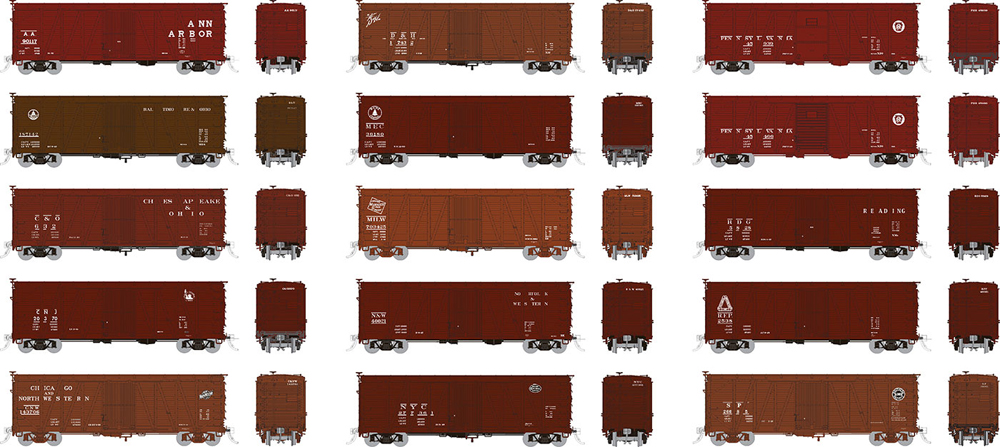 40-foot single-sheathed boxcars in varying paint scheme