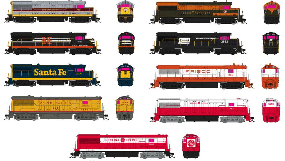 Rapido Trains General Electric U25B diesel locomotive in varying paint schemes.