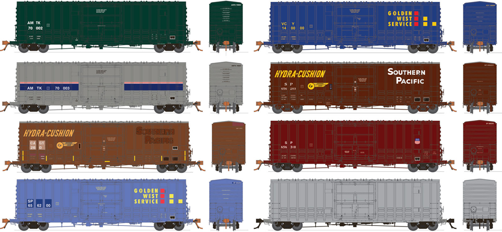 Rapido Trains PC&F B-100-40 boxcars in varying paint schemes..