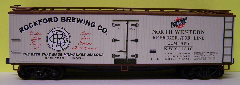 Rockford Brewing Co. 40-foot wood reefer for the Arlington Heights Society of Model Engineers club.