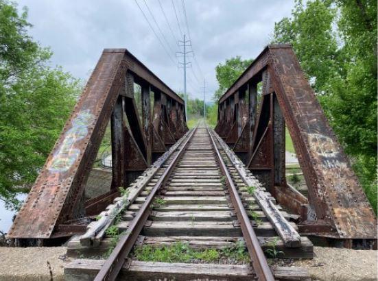 View down through truss bridge