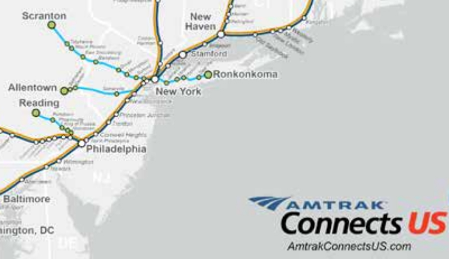 Map showing possible new Amtrak routes