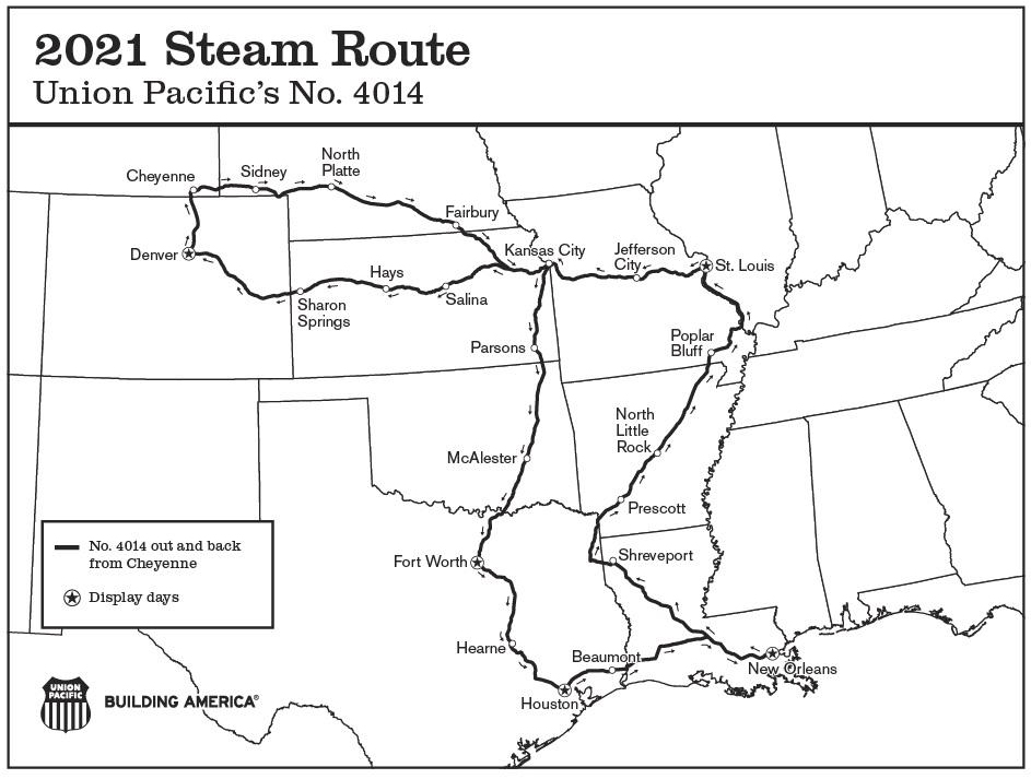 Map showing Big Boy tour route for 2021
