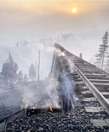 Smoldering bridge after fire