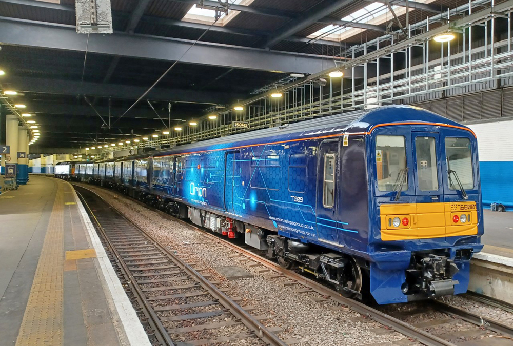 Blue passenger train converted for freight use