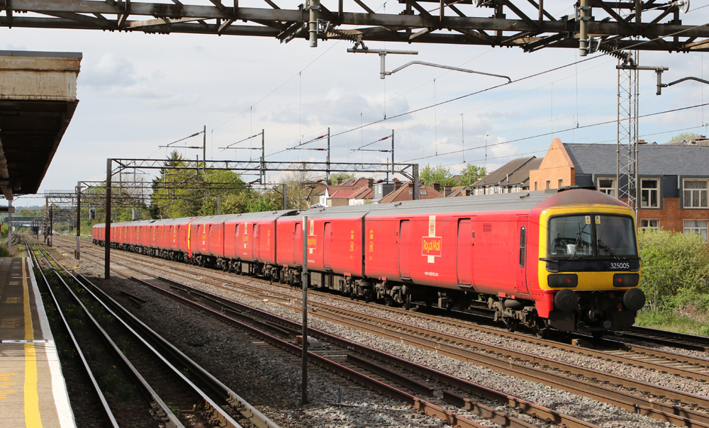 Red and yellow freight EMU trainset