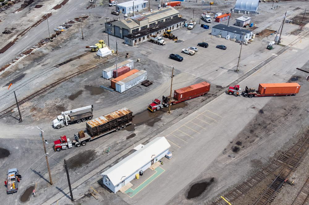 Aerial view of truck carring boxcar