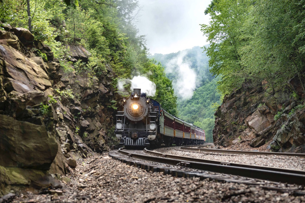 Train with steam locomotive approaches through rock cut