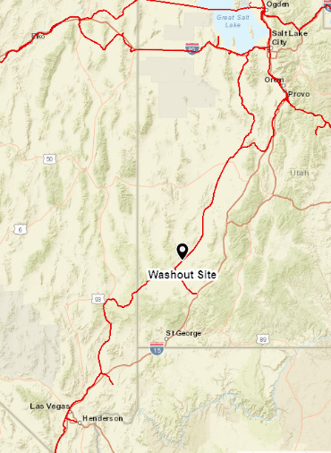 Map showing location of UP washout
