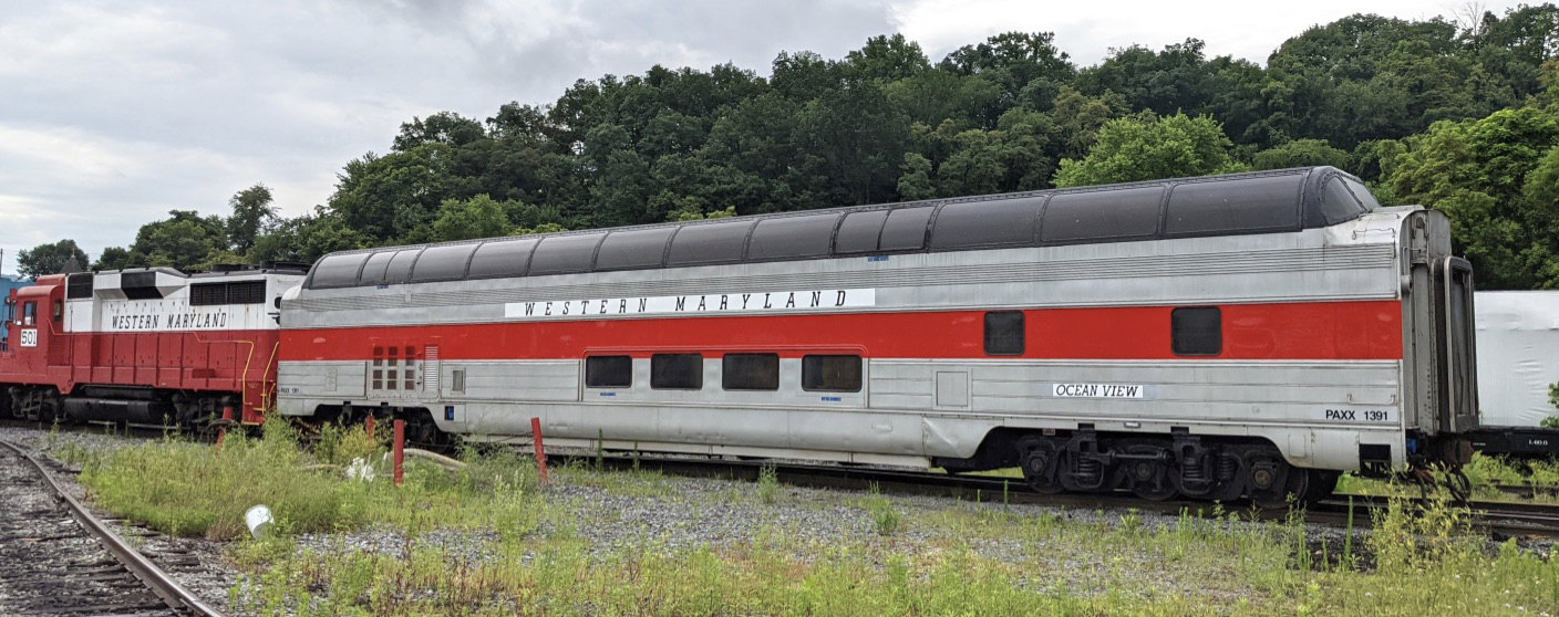 Side view of dome car