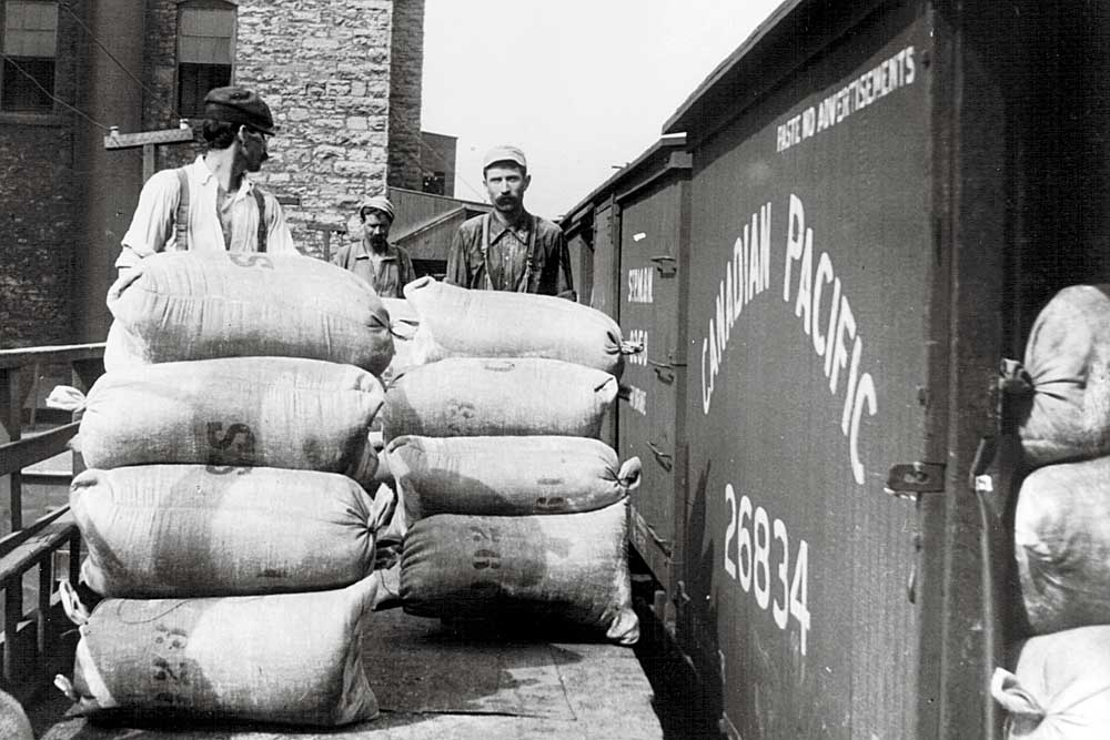 Men load bags of grain from platform into open boxcar