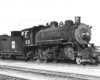 Black-and-white view of 2-8-0 steam locomotive