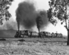 Black-and-white view framed by two trees of doubleheaded steam locomotives with freight train