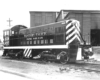 Black-and-white view of diesel switching locomotive