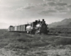 Black-and-white view of 4-6-0 steam locomotive with short freight train in desert