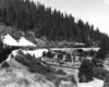 Black-and-white view of steam locomotive with freight train entering a loop in mountains