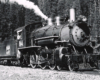 Black-and-white view of 4-6-0 steam locomotive